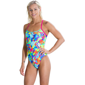 speedo Single 1 Piece Xback Swimsuit Women Pink/Green
